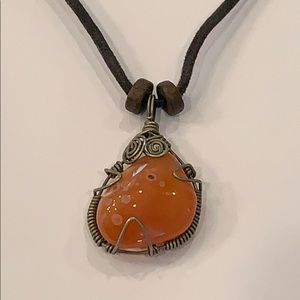 Wire wrapped natural orange stone adjustable cord